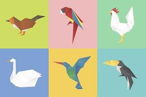 Animals origami vector