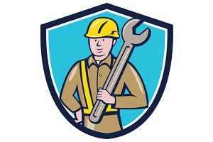 Construction Worker Spanner Shield C