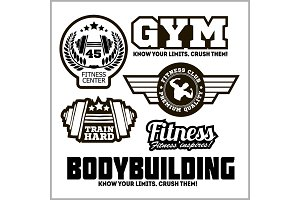Set of sports and fitness logo. Gym