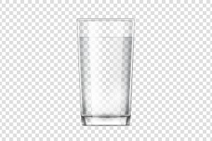 Realistic glass cup with water