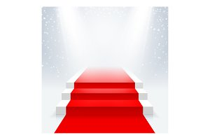 Podium with a red carpet