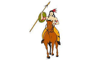 Native American Indian Brave Riding