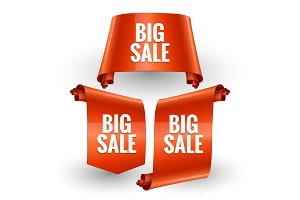 Sale banner set Realistic Red Glossy