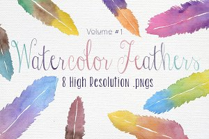 Watercolor Feathers Vol #1