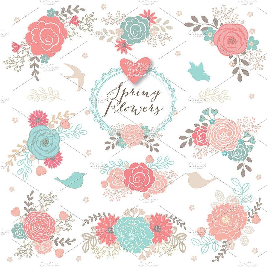 Vector Spring Flower Clipart Illustrations Creative Market