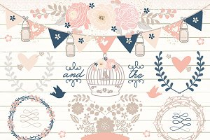Vector Navy Blue/Rose Blush wedding