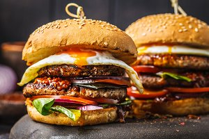 Homemade meat burgers with egg