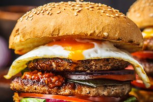 Homemade meat burger with egg