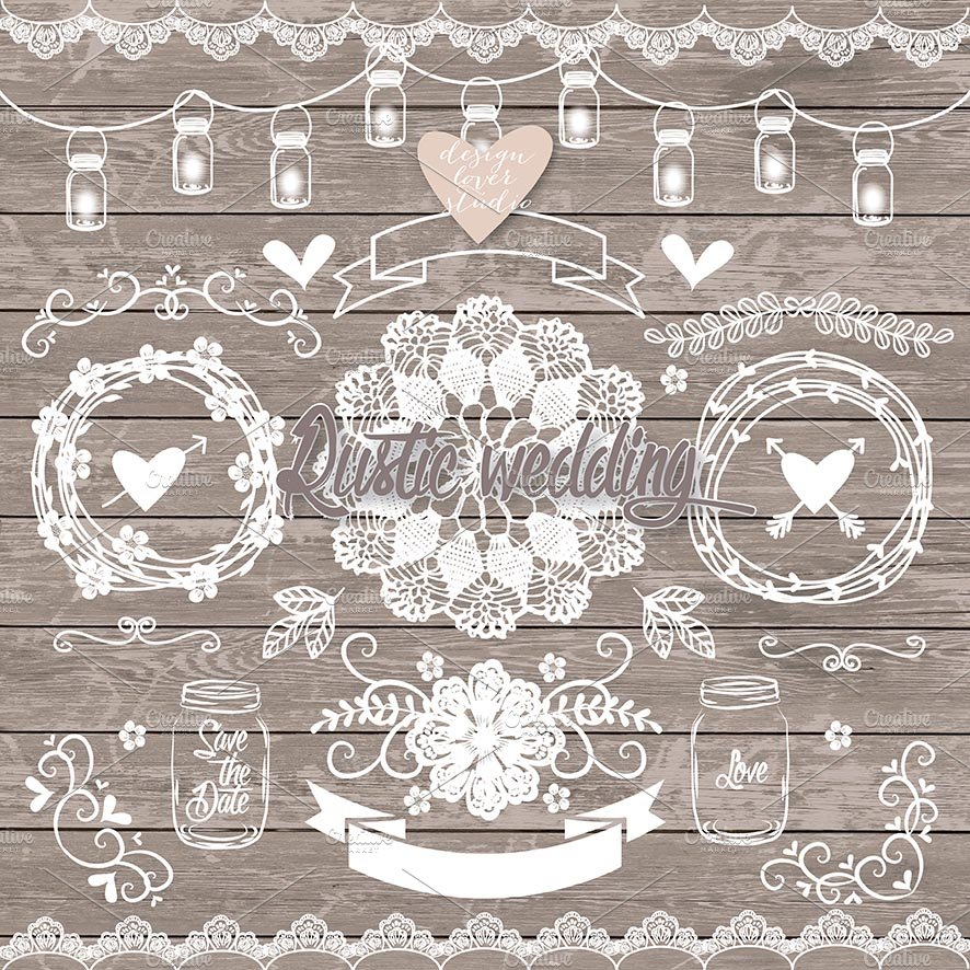 Vector rustic wedding elements illustrations creative market stopboris Image collections