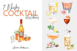 7 WHISKY COCKTAIL ILLUSTRATIONS