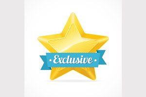 Exclusive star label. Vector