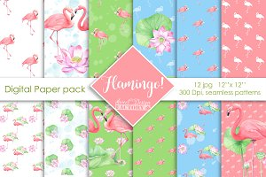Flamingo digital paper pack.