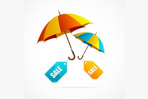 Sale labels with umbrellas