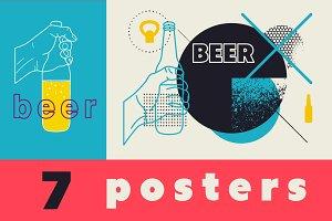 Set of beer vector posters.