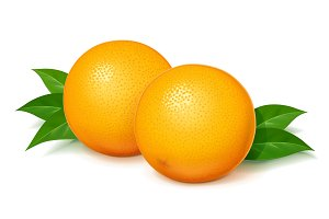 Ripe, juicy orange with green leaf.