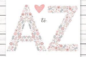 Vector floral Alphabet clipart