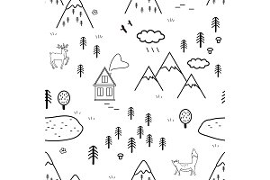 Hand drawn scandinavian landscape