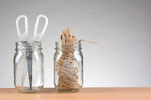 String and Scissors in Jars