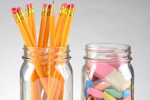 Jars with Pencils and Erasers