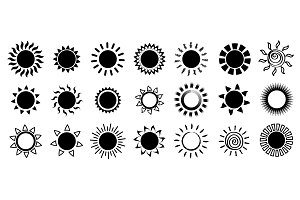 Yellow Sun icons set. Vector and