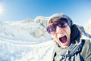 Woman Screaming in Winter Landscape