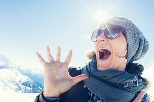 Woman Screaming in Winter Landscape