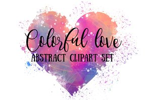 Colourful Love: Abstract Hearts Set