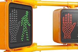 Traffic sign light orange, close