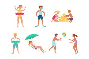 Vector summer sea vacation people