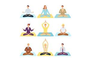 Vector women, men doing yoga in