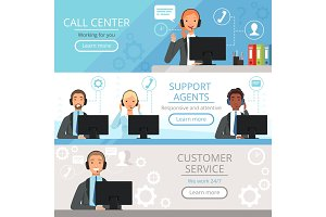Call center banners. Support agents