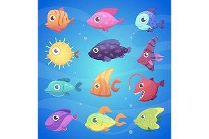 Colorful cartoon fish. Funny
