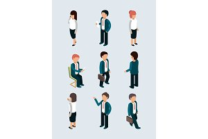 Isometric business people. Young