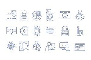 Coder icons. Programmer computer