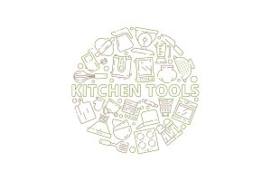 Kitchen tools icons. Food prepare