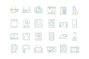 Home electrical icons. Household