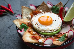 Mexican breakfast: chilaquiles with