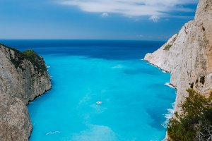 Top view of Navagio Shipwreck Beach