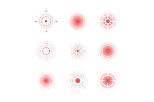 Radial red shapes. Migraine aiming