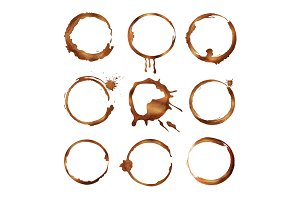 Coffee cup rings. Dirty splashes and