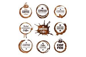 Coffee rings labels. Badges design