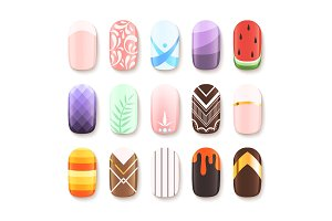 Nail designs. Colored template of