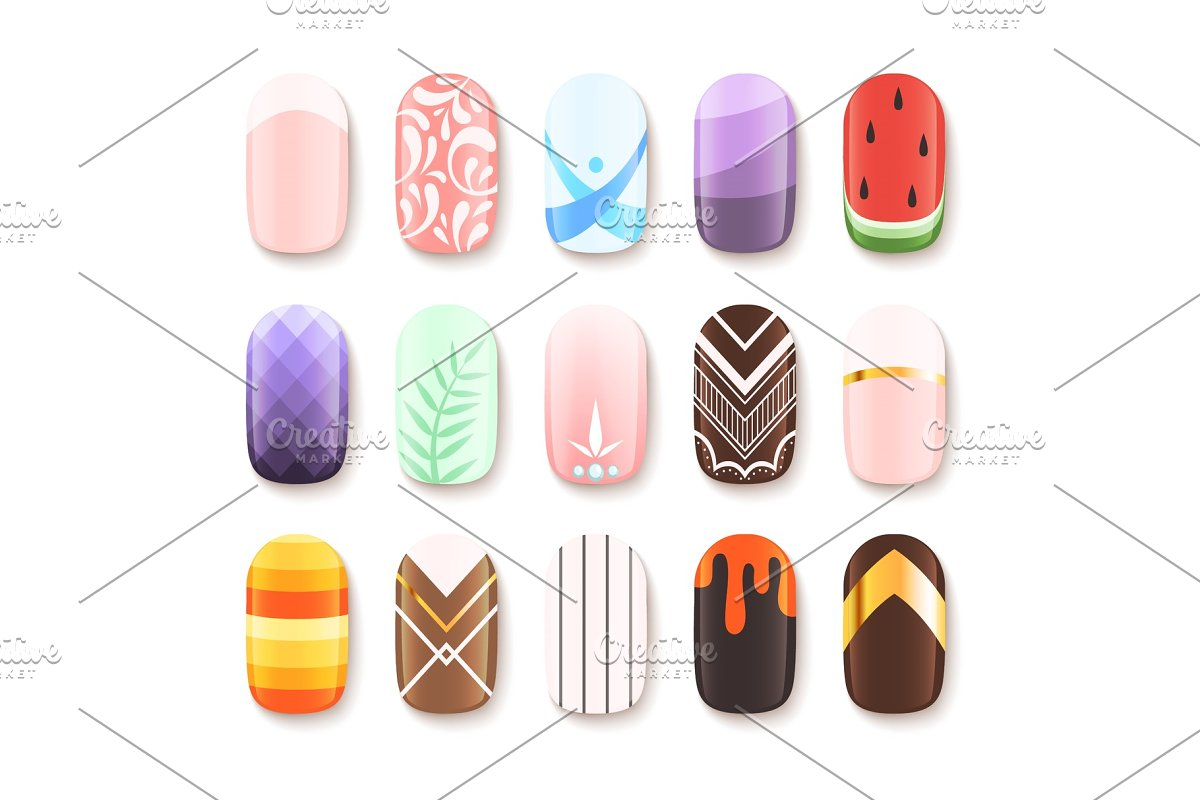 Nail Designs Colored Template Of Graphics Creative Market