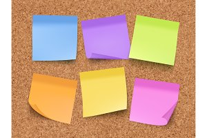 Sticky empty notes. Corkwood board