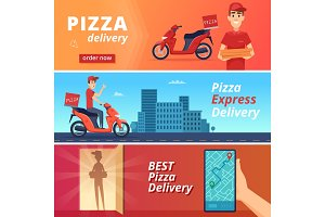 Food pizza delivery. Postal courier