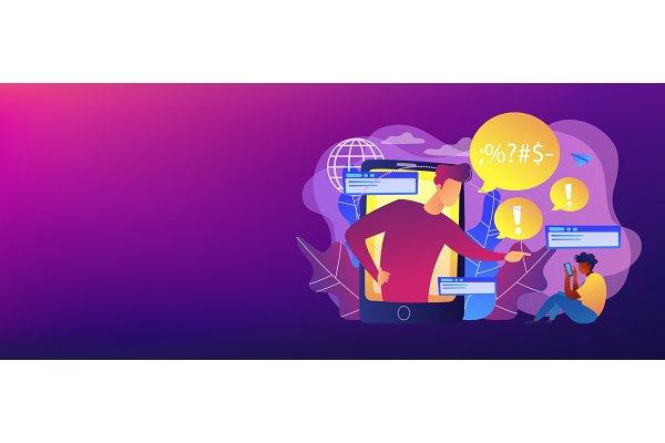 Cyberbullying concept banner header…
