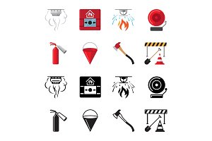 Fire safety flat icons vector of set