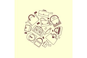 Bags and purses line icons round