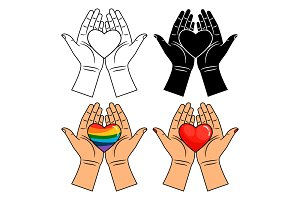 Hands and heart icons - line