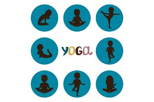Yoga poses silhouettes icons vector